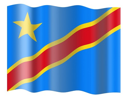 zaire: Flag of Democratic Republic of the Congo. Illustration over white background