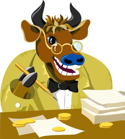 travesty: cartoon bull is businessman. Vector illustration Stock Photo