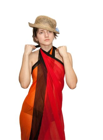 sudarium: brunette girl in straw hat dresses a pareo. Isolated over white. Stock Photo