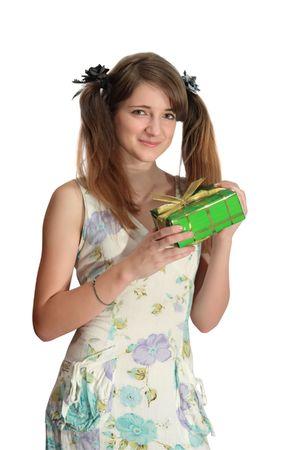 Een mooie tiener krijgt een dag valentijn cadeau Stockfoto