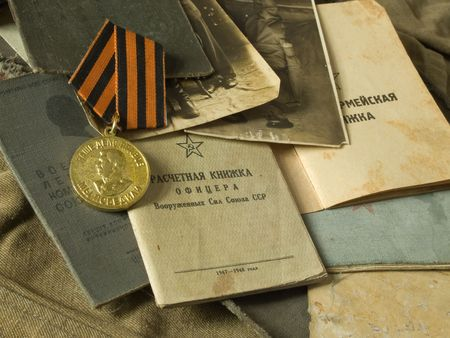 Old army bag and antiques army documents  Stock Photo