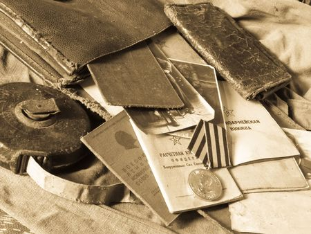 soviet: Old army bag and antiques army documents  Stock Photo