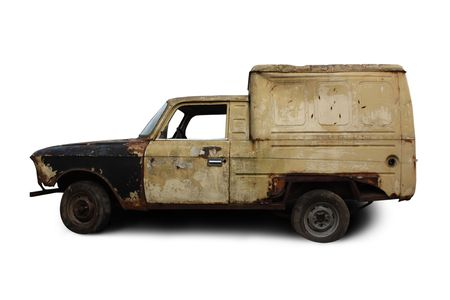 salvage yards: Old rusted torched car. Isolated over white