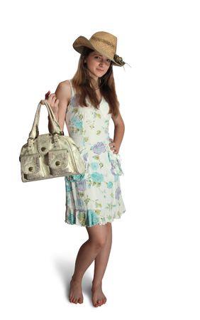teener: summer teen girl in donkeys breakfast with handbag. isolated Stock Photo