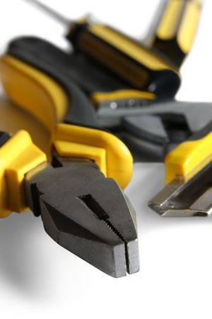 set of yellow tools over white background Stock Photo - 4665847