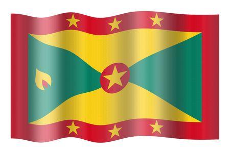 grenada: Flag of Grenada. Illustration over white background