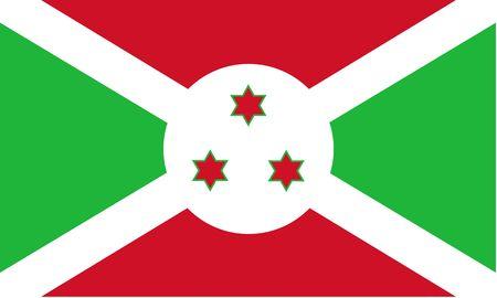 burundi: Flag of Burundi. Illustration over white background