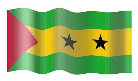 tomo: Bandiera di S�o Tom� e Pr�ncipe. Illustrazione su sfondo bianco