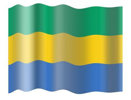 gabon: Flag of Gabon. Illustration over white background