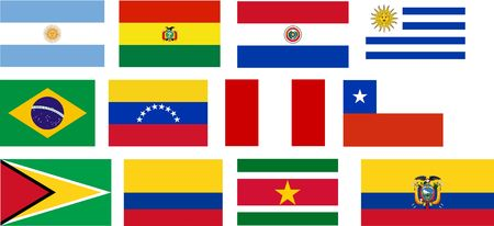 Flags of all South America countries. Illustration over white background Stock Illustration - 4708190