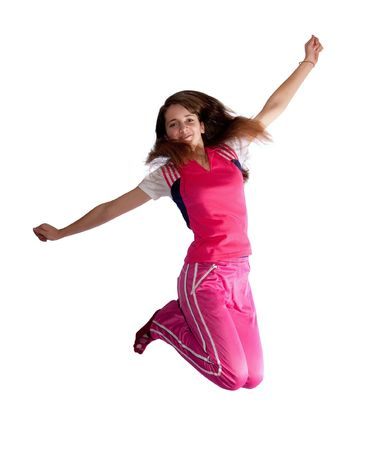 teeny: Jumping  pretty long haired teenager. Isolated Stock Photo