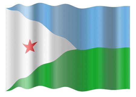Flag of Djibouti. Illustration over white background illustration