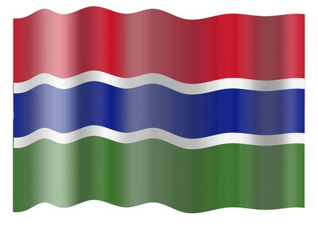 gambia: Flag of Gambia. Illustration over white background