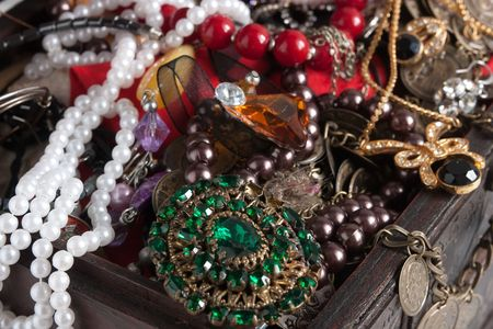 jewellery box: Closeup of a Treasure chest t with bijouterie