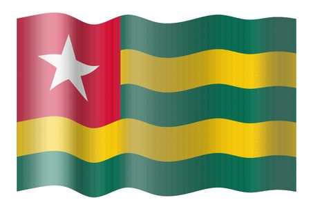 togo: Flag of Togo. Illustration over white background