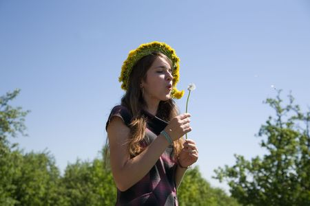 Young girl blowing seeds of a dandelion flower photo
