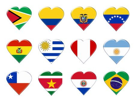 Icons of South America flags. Illustration over white background illustration
