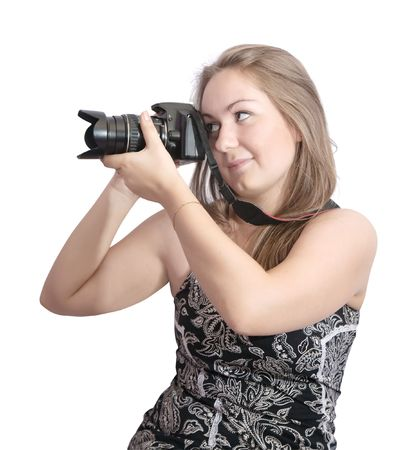 Young girl with camera isolated over white Stock Photo - 5094598
