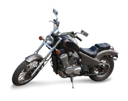 Black  motor cycle.