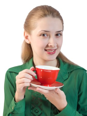 girl in green blouse with red cup. Isolated Stock Photo - 5111433