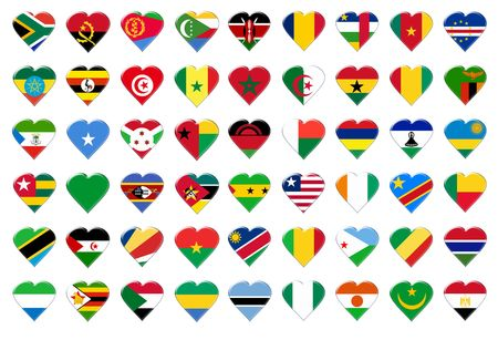 Icon of Africa flags. Illustration over white background Stock Illustration - 5177450