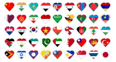 Icon of Asia flags. Illustration over white background Stock Illustration - 5208609