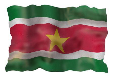 Vintage Flag of Surinam. Illustration over white background illustration