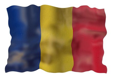 rumania: Vintage Rumania national flag. Illustration on white background Stock Photo