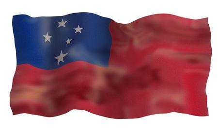 samoa: Vintage Flag of Samoa. Illustration over white background Stock Photo