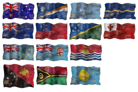 Set of  Australia and Pacific basin countries flags. Illustration over white background Stock Illustration - 5313368