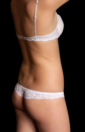 female torso in undies. Isolated on black background Stock Photo - 5334491