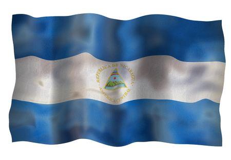 Vintage Flag of Nicaragua. Illustration over white background illustration