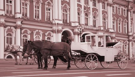 hermitage: a carriage and pair against Hermitage, Russia