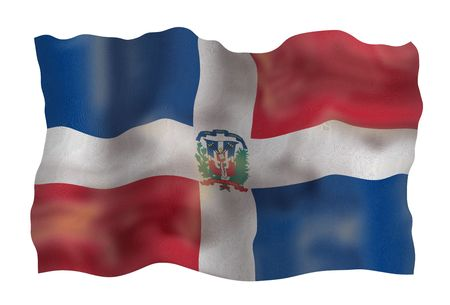 Vintage Flag of Dominican Republic. Illustration over white background illustration