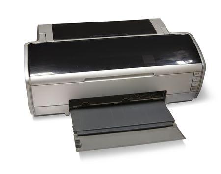 inkjet: de tinta A3 Impresora de inyecci�n. Aislado en blanco Foto de archivo