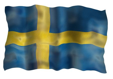 Vintage Sweden national flag. Illustration on white background illustration