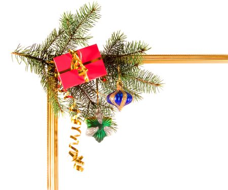 newyear: New-year borders with fir-tree on white background