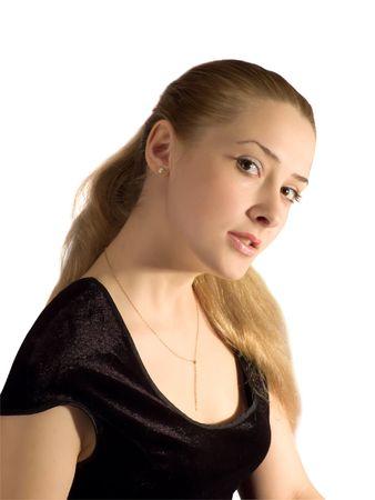 velure: Portrait girl in black velure dress. Isolated on white