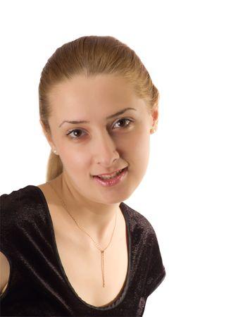 velvet dress: Portrait girl in black velure dress. Isolated on white