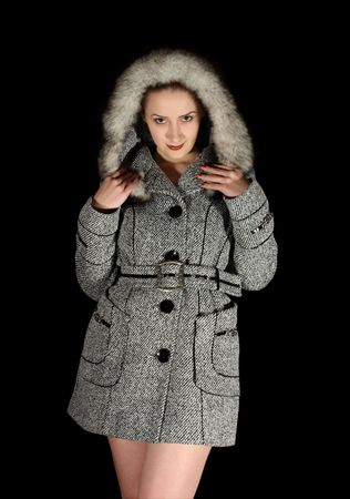 Portrait of sexy woman in gray coat photo