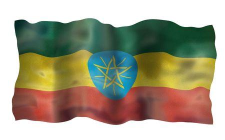 Vintage Flag of Ethiopia. Illustration over white background illustration