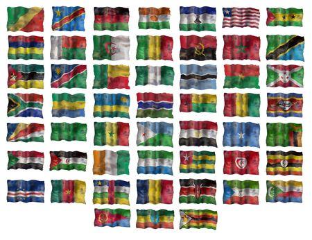 rsa: Set of Africa flags. Illustration over white background