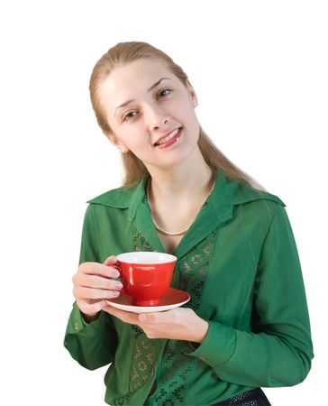 girl in green blouse with cup of  tea. Isolated photo