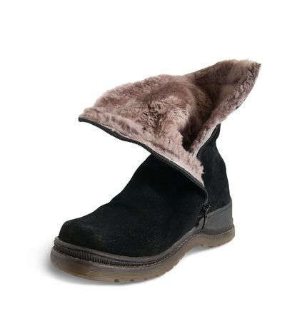 furskin: Black wintry womanish boot  isolated on white background