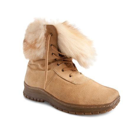 beige  fur  boot isolated on white background  photo