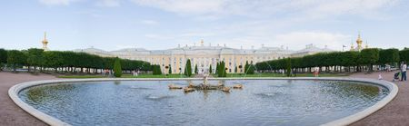 beauty fountain: Panorama of beauty fountain with gold sculpture at Peterhof, Russia Stock Photo