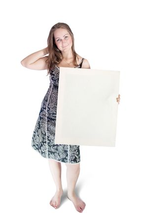 communicative: Woman holding blank sign standing on white