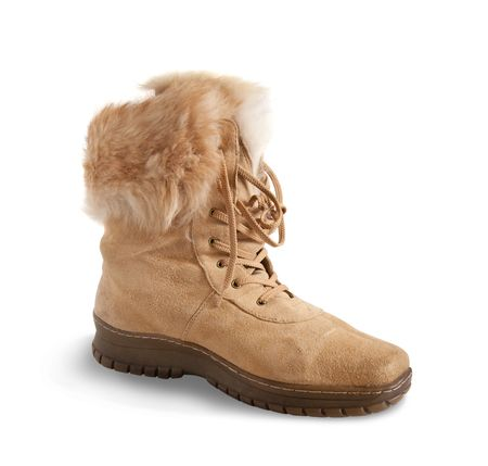 furskin: Shammy fur  boot  isolated on white background