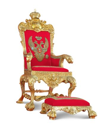 throne: Golden royaltys Throne.  Stock Photo