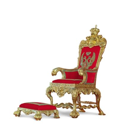 throne: Golden emperors Throne.  Stock Photo